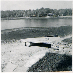 1955 flood, Thompson Pond during flood but before the breach of the dam