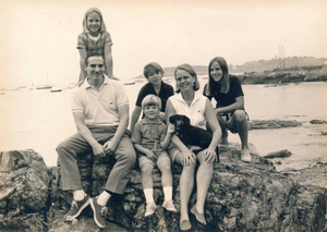 1972 family photo on Curlew Beach, Nahant