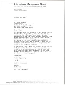 Letter from Mark H. McCormack to Pete Rozelle