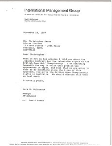 Letter from Mark H. McCormack to Christopher Skase