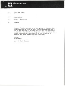Memorandum from Mark H. McCormack to Curt Curtis