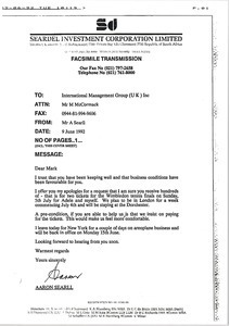Fax from Aaron Searll to Mark H. McCormack