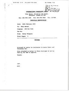 Fax from Penny Thompson to Mary Wenzel