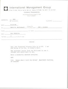 Fax from Ayn Robbins to Mark H. McCormack