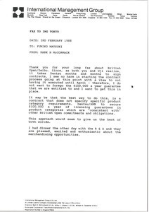 Fax from Mark H. McCormack to Fumiko Matsuki