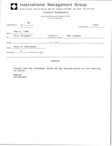 Fax from Mark H. McCormack to Eric Drossart