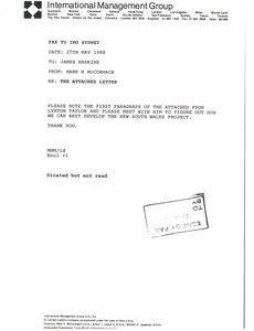 Fax from Mark H. McCormack to James Erskine