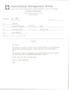 Fax from Ayn Robbins to Todd McCormack