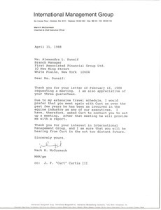 Letter from Mark H. McCormack to Alexandra L. Dunaif