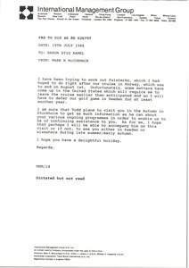 Fax from Mark H. McCormack to Baron Stig Ramel
