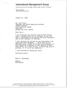 Letter from Mark H. McCormack to Paul Pare