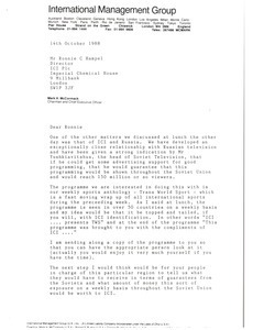 Letter from Mark H. McCormack to Ronnie C. Hampel