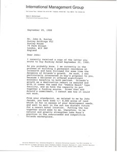 Letter from Mark H. McCormack to John B. Sunley