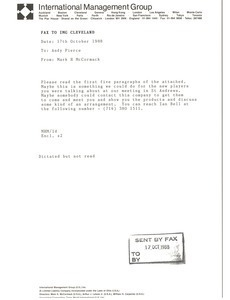 Fax from Mark H. McCormack to Andy Pierce