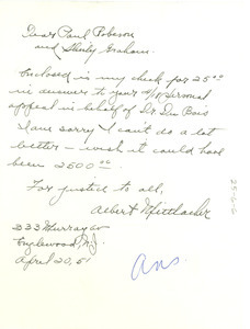 Letter from Albert Mittlacher to National Committee to Defend Dr. W. E. B. Du Bois and Associates in the Peace Information Center