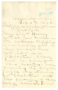 Letter from W. A. Gillam to James Weldon Johnson