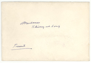 Invitation from W. E. B. Du Bois to Louie and Henrietta Shivery
