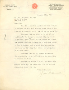 Letter from Unitarian Laymen's League to W. E. B. Du Bois