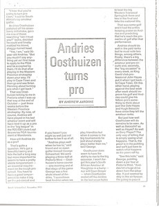Andries Oosthuizen turns pro