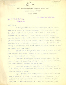 Letter from the Americo-Liberian Industrial Co. to W. E. B. Du Bois