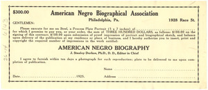 $300 contract for process plate portrait in the American Negro Biography
