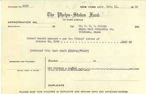 Appropriation from Phelps-Stokes Fund to W. E. B. Du Bois