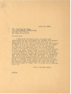 Letter from W. E. B. Du Bois to City Housing Corporation