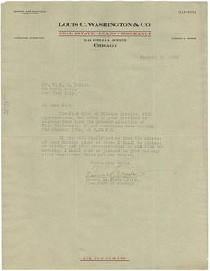 Letter from Fisk Club of Chicago to W. E. B. Du Bois
