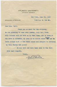 Letter from W. E. B. Du Bois to Katherine Bell