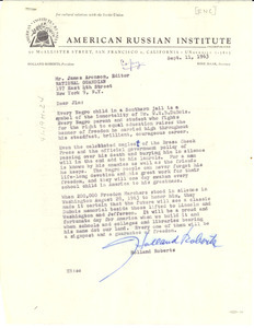Letter from American Russian Institute to National Guardian