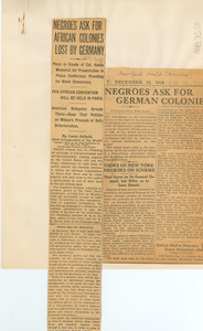 Negroes ask for African colonies lost by Germany