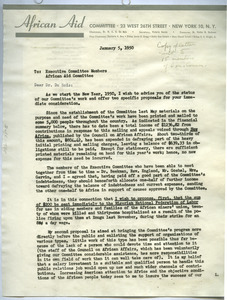 Circular letter and financial statement from African Aid Committee to W. E. B. Du Bois