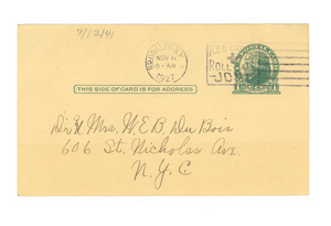Letter from A. E. Jensen and Harmon Reed to Dr. and Mrs. W. E. B. Du Bois