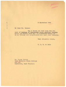 Letter from W. E. B. Du Bois to West Virginia State College