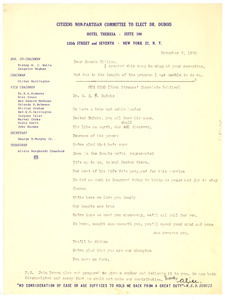 Letter from Citizens Non-Partisan Committee to Elect Dr. Du Bois to W. E. B. Du Bois