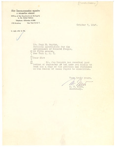 Letter from Czechoslovak United Nations Delegation to Hugh H. Smythe