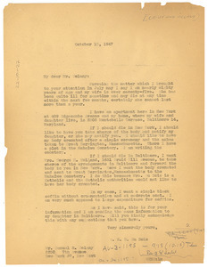 Letter from W. E. B. Du Bois to Levy & Delany Funeral Home