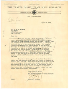 Letter from The Travel Institute of Bible Research to W. E. B. Du Bois