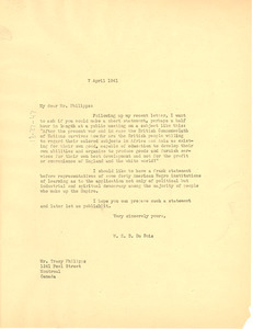 Letter from W. E. B. Du Bois to Tracy Phillips