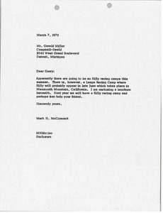 Letter from Mark H. McCormack to Gerald Millar