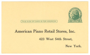 American Piano Co. blank postcard