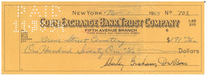 Check from Shirley Graham Du Bois to Grove Street Cemetery