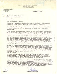 Letter from First Unitarian Church of Los Angeles to Shirley and W. E. B. Du Bois