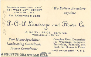 Business card for Augustus Granville Dill