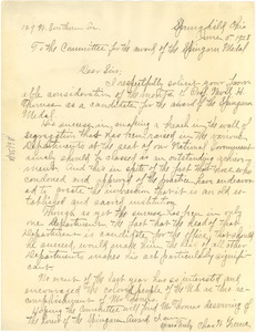 Letter from Charles Greene to Spingarn Medal Award Committee