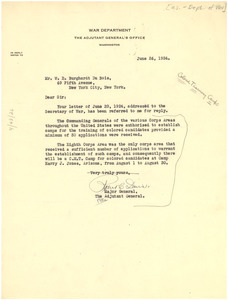 Letter from United States War Department to W. E. B. Du Bois