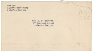 Letter from Atlanta University Registrar to W. E. B. Du Bois