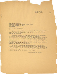 Letter from W. E. B. Du Bois written on behalf of Ada Young to W. A. Hamilton