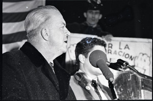 Young Americans for Freedom pro-Vietnam War demonstration, Boston Common: Dapper O'Neil at podium