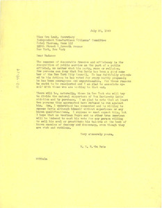 Letter from W. E. B. Du Bois to Independent Non-Partisan Citizens Committee for the Re-election of Councilman Benjamin J. Davis Jr.